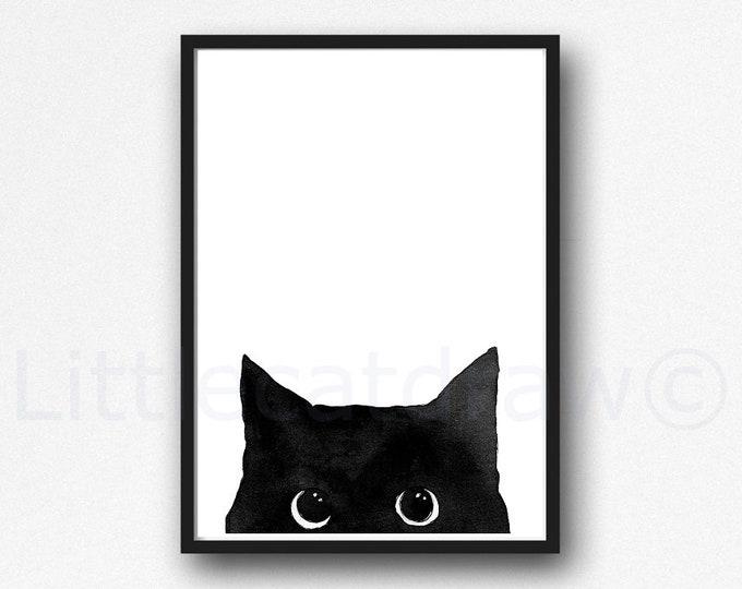Cat Print Peeking Black Cat Watercolor Painting Print Cat Art Wall Art Black Cat Decor Cat Lover Gift Art Print