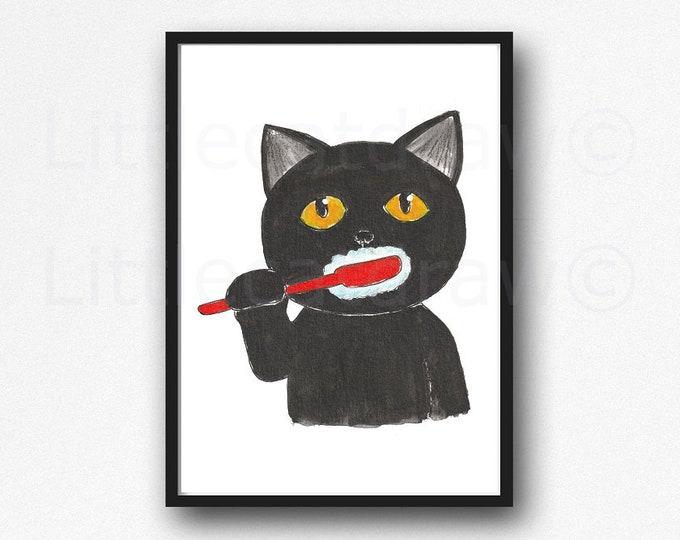 Cat Print Brushing Teeth Black Cat Watercolor Painting Print Wall Art Bathroom Decor Wall Decor Art Print Cat Lover Gift