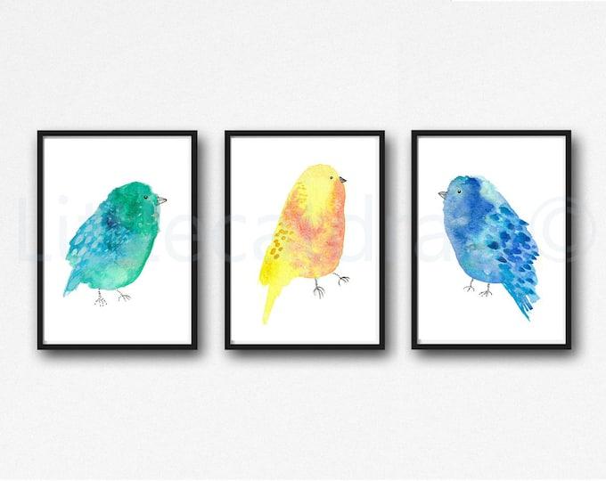 Bird Print Set Of 3 Watercolor Painting Prints Green Blue Yellow Birds Home Decor Wall Decor Wall Art Bird Lover Gift Unframed