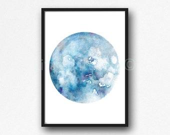 Moon Phase Print Blue Watercolor Prints Bedroom Wall Decor Wall Art Luna Blue Lunar Phases Art Home Decor Moon Print Unframed