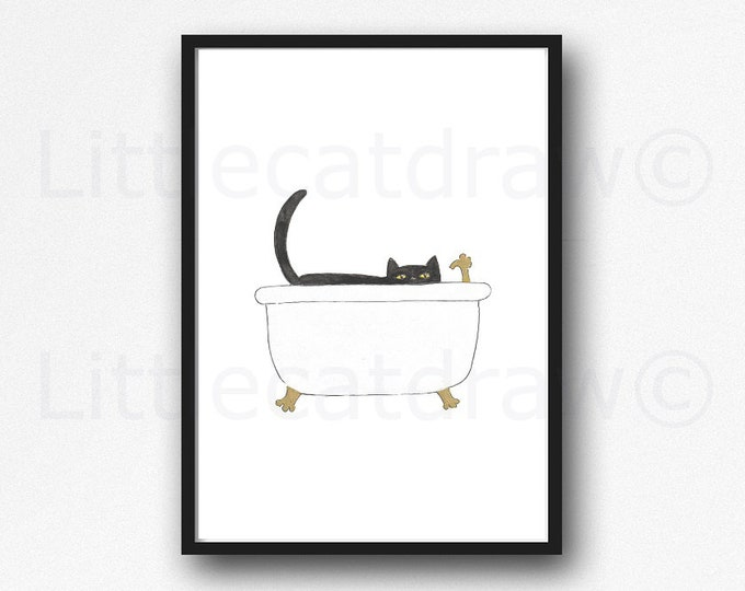 Cat Print Bath Time Peeking Cat Watercolor Painting Print Wall Art Bathroom Decor Bathtub Bath Tub Wall Decor Art Print Cat Lover Gift