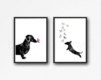 Dachshund Print Set Of 2 Watercolor Painting Print Wall Art Dachshund Dogs With Butterflies Home Decor Art Prints Wall Decor Dog Lover Gift