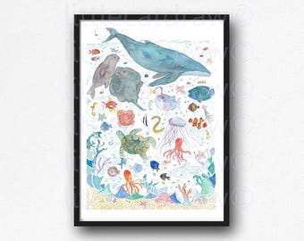 Under The Sea Watercolor Painting Print Whale Art Sea Creatures Nautical Print Fish Art Whale Print Bathroom Wall Decor Nautical Wall Art