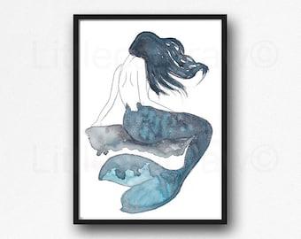 Blue Mermaid Watercolor Painting Print Mermaid Tail Decor Nautical Print Little Mermaid Bathroom Wall Art Wall Decor Mermaid Art Print