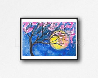 Cherry Blossom And The Moon Watercolor Painting Print Moon Art Print Living Room Decor Wall Home Decor Tree Wall Art