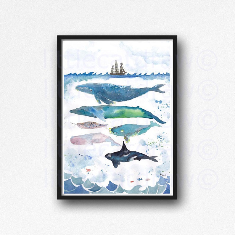 Whale Print Whales Under The Sea Watercolor Painting Whale Art image 0