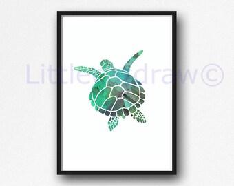 Sea Turtle Print Swimming Green Sea Turtle Art Print Watercolor Painting Nautical Print Watercolour Bathroom Wall Art Watercolor Wall Decor