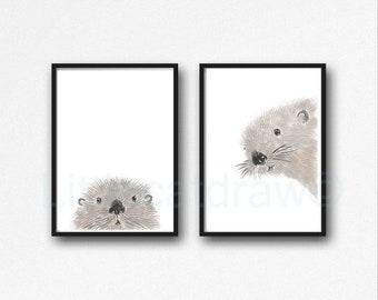 Otter Print Set of 2 Prints Peeking Watercolor Painting Print Peekaboo Animals Wall Art Wall Decor Otter Gift Art Prints Unframed