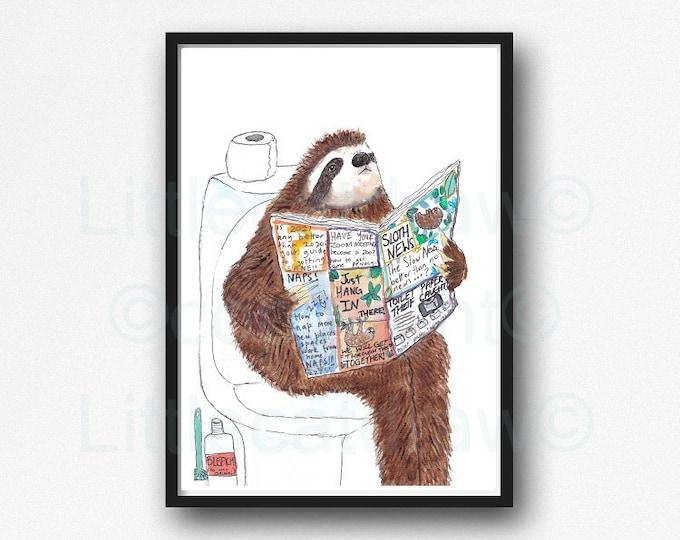 Sloth Print Sloth Reading The News On The Toilet Watercolor Painting Print Wall Art Bathroom Decor Wall Decor Art Print Sloth Lover Gift