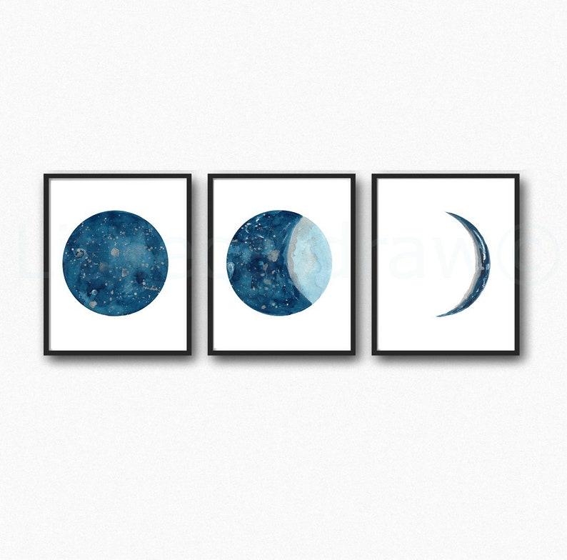 Moon Set of 3 Art Prints Pick Your Color Moon Watercolor Navy Blue Indigo