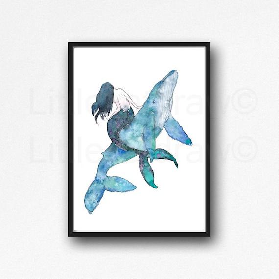 Wall Art Watercolour Whale print Watercolour art Whale Tail print Whale art decor Mermaid Tail print