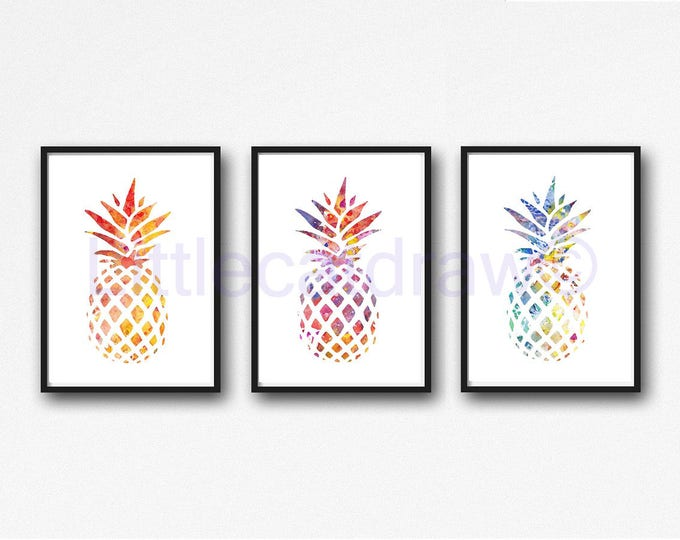 Pineapple Print Set Of 3 Tropical Watercolor Painting Kitchen Wall Art Pineapple Wall Decor Party Wall Art Watercolor Print Tropical Party