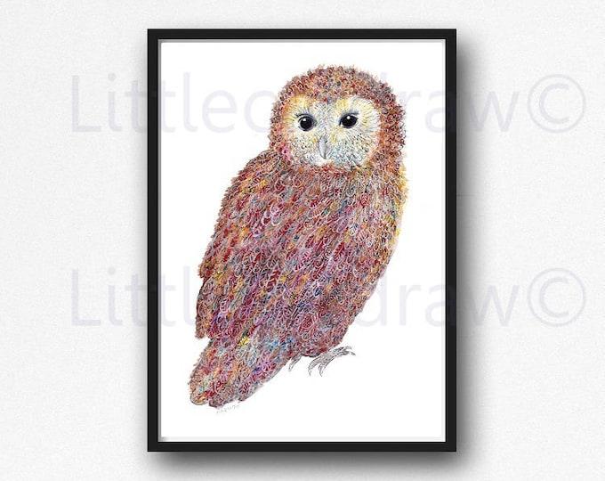Owl Print Tawny Owl Bird Print Watercolor Painting Art Print Owl Wall Art Living Room Decor Bedroom Wall Decor Woodland Animal Print
