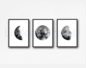Moon Print Set of 3 Prints Moon Art Watercolor Painting Print Luna Gray Lunar Phases Art Home Decor Wall Art Prints Moon Gift