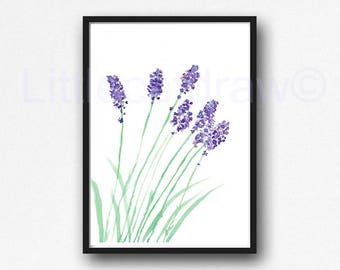 Lavender Print Watercolor Painting Print Herb Art Print Botanical Art Print Watercolor Lavender Wall Art Living Room Wall Decor Unframed