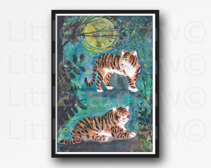 Tiger Print Tigers In The Jungle Forest Watercolor Painting Print Fireflies Wall Art Print Watercolour Tigers Home Decor Wall Decor