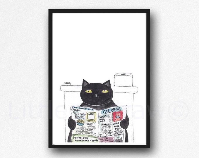 Cat Print Black Cat Reading The Newspaper Watercolor Painting Print Wall Art Bathroom Decor Toilet Loo Wall Decor Art Print Cat Lover Gift