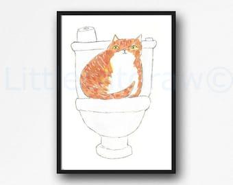 Cat Print Toilet Time Ginger Tabby Cat Watercolor Painting Print Wall Art Bathroom Decor Toilet Loo Wall Decor Art Print Cat Lover Gift