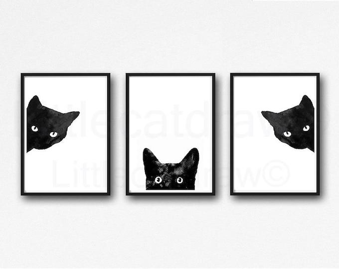 Black Cat Print Set Of 3 Watercolor Prints Peeking And Sneaky Black Cat Print Art Illustration Home Decor 3 Art Prints Wall Art