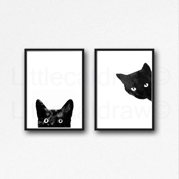 Black cat print set of 2 black cat art prints cat art wall