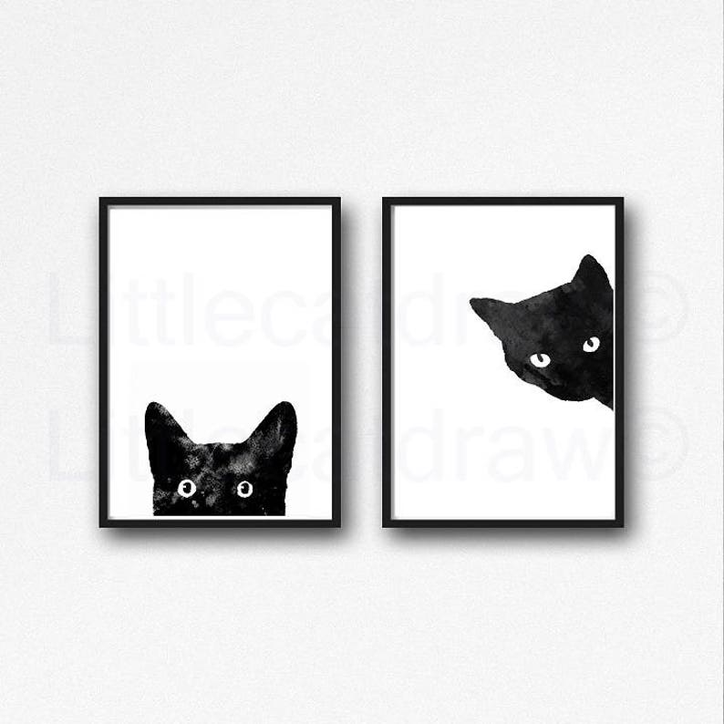 Black Cat Print Set Of 2 Watercolor Painting Art Prints Cat image 0