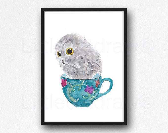 Owl In A Tea Cup Print Watercolor Painting Print Bird Print Woodland Animal Art Print Wall Art Living Room Decor Wall Decor Unframed