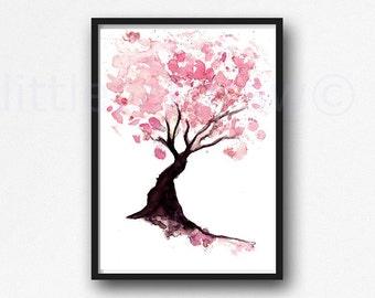 Cherry Blossom Tree Print Watercolor Painting Print Spring Tree Gift Bedroom Decor Wall Art Cherry Blossom Decor Home Wall Decor
