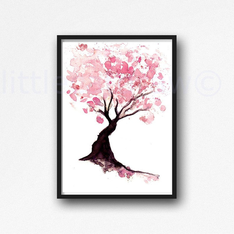 94270716307 Cherry Blossom Tree Print Watercolor Painting Print Spring
