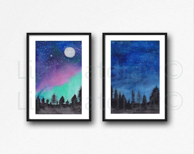 Landscape Print Set of 2 Blue Night Sky Forest Watercolor Painting Print Forest Wall Art Print Landscape Aurora Borealis Home Decor