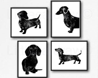 Dachshund Set of 4 Prints Watercolor Painting Print Sausage Dog Print Wall Art Home Decor Wall Decor Weiner Doxie Dachshund Gift Unframed