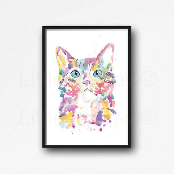 Arco iris gato retrato acuarela pintura impresión gato pared arte hogar decoración pared decoración decoración gatito gato impresión gato regalo gato pintura