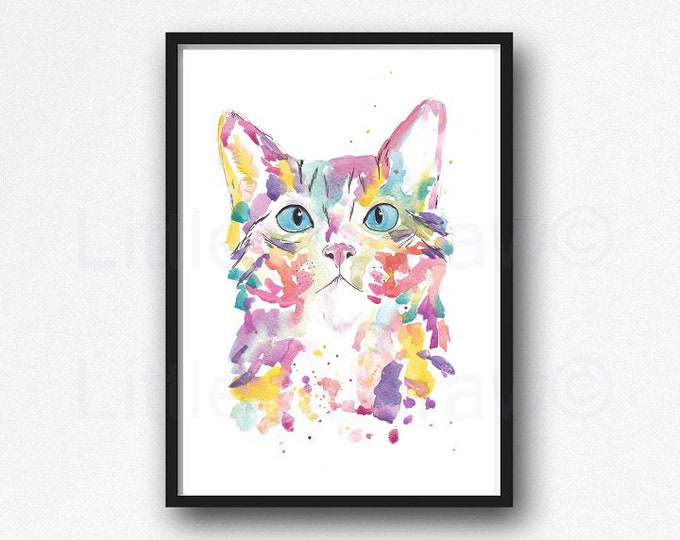 Rainbow Cat Portrait Watercolor Painting Print Cat Wall Art Home Decor Wall Decor Kitty Cat Print Cat Lover Gift Cat Painting