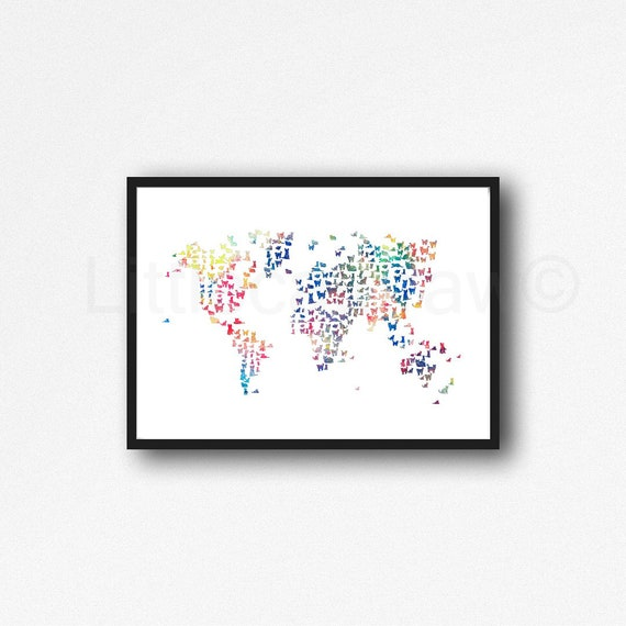Cat Map Of The World.Rainbow Cat Map Print World Map Print Cat Lover Gift Cat World Etsy