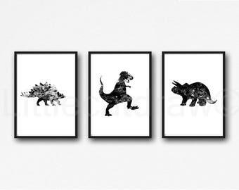 Dinosaur Print Set Of 3 Black Jurassic Art Prints Watercolor Wall Art Dinosaurs Home Decor Dinosaur Geek Art Print Unframed