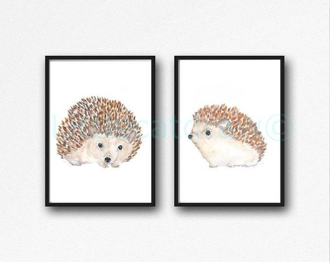 Hedgehog Print Hedgehog Woodland Animal Set of 2 Watercolor Painting Print Wall Art Home Decor Wall Decor Hedgehog Gift Art Print