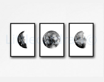 Moon Print Set of 3 Art Prints, Watercolor Painting, Wall Art, Celestial Gift, Bedroom Decor
