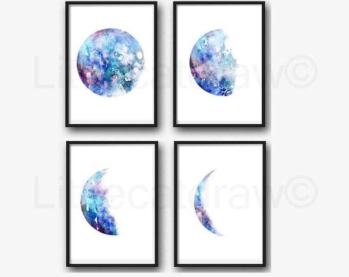 Moon Phase Print Set of 4 Watercolor Prints Luna Blue Galaxy Decor Lunar Phases Moon Art Home Decor 4 Art Prints Wall Art Wall Decor