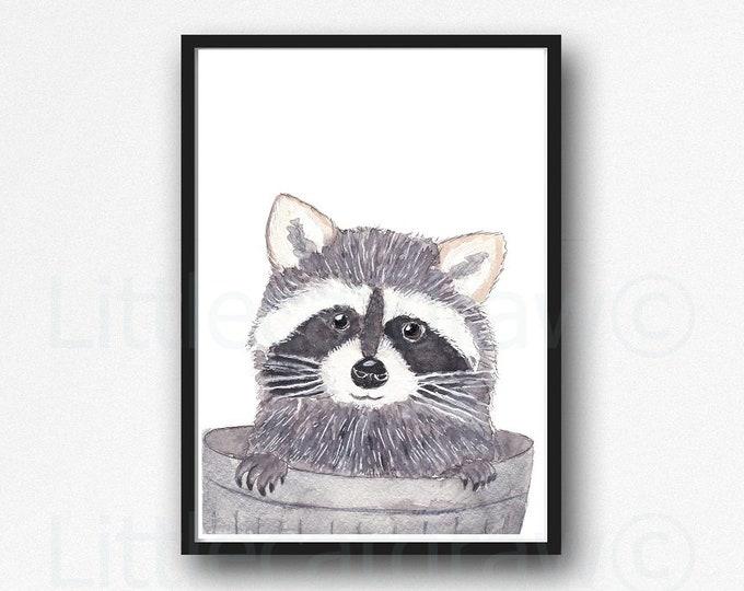 Raccoon Print Raccoon Raiding A Bin Watercolor Painting Print Raccoon Lover Gift Trash Panda Decor Bedroom Wall Decor Wall Art
