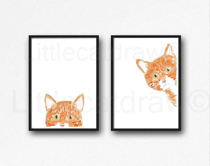 Peeking Ginger Tabby Cat Print Set Of 2 Peekaboo Cat Art Wall Decor Cat Lover Gift Living Room Decor Cat Decor Watercolor Painting Print