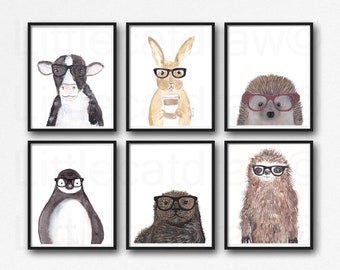 Geek Animal Prints Set of 6 Watercolor Painting Animals Wearing Glasses Cow Bunny Hedgehog Penguin Otter Sloth Wall Art Home Decor Unframed