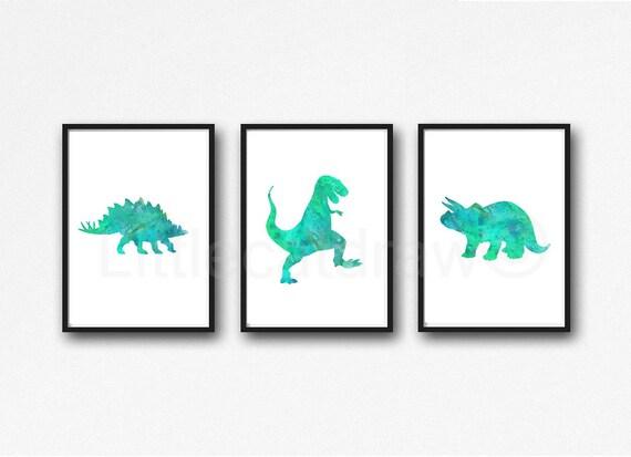 imprimé de Sarcelle Jurassique dinosaure vert Ensemble 3 Etsy Art qBwzyxd