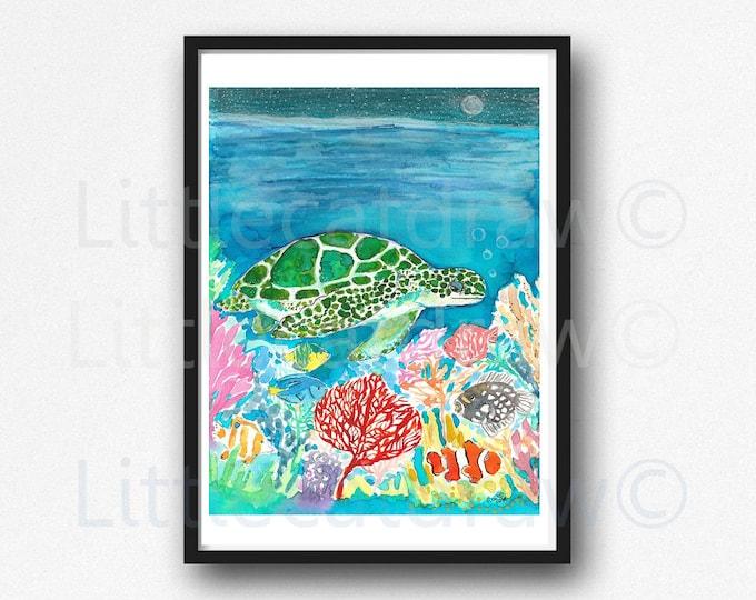 Sea Turtle Print Under The Sea Watercolor Painting Print Art Fish Nautical Art Print Fish Sea Turtle Print Wall Decor Nautical Wall Art