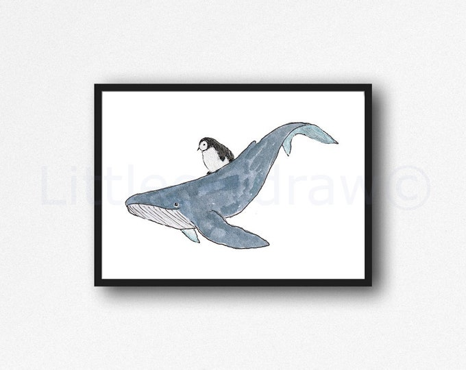 Penguin Rides The Whale Print Watercolor Painting Whale Art Whale Wall Art Nautical Decor Beach Bathroom Decor Home Wall Decor Penguin Print