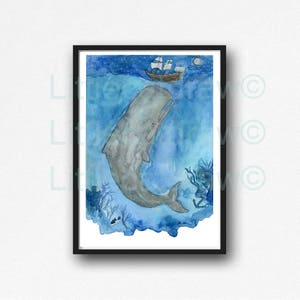 Whale Print The Ocean at Night Under the Sea Watercolor Painting Whale Art Nautical Print Whales Illustration Bathroom Wall Art Wall Decor