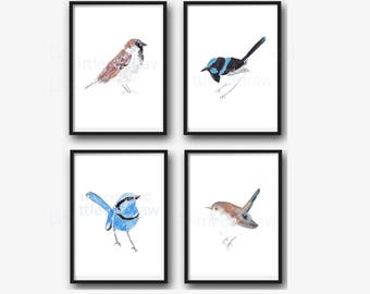 Wren and Sparrow Bird Print Set Of 4 Watercolor Painting Print Bird Decor Bird Painting Bird Print Home Decor Wall Art Living Room Decor