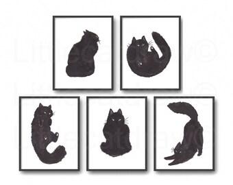 Black Cat Print Set Of 5 Watercolor Painting Print Cat Art Cat Lover Gift Black White Minimalist Living Room Decor Wall Art Prints