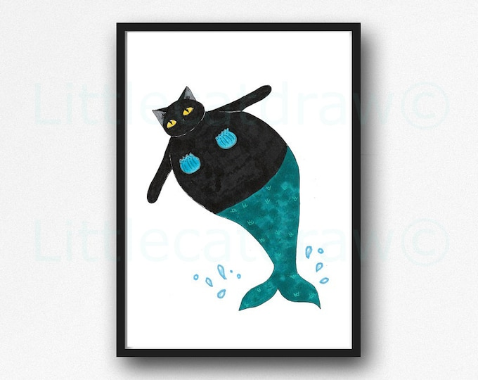 Cat Mermaid Print Watercolor Painting Print Splash Black Cat Print Wall Art Home Decor Wall Decor Cat Art Nautical Print Cat Lover Gift