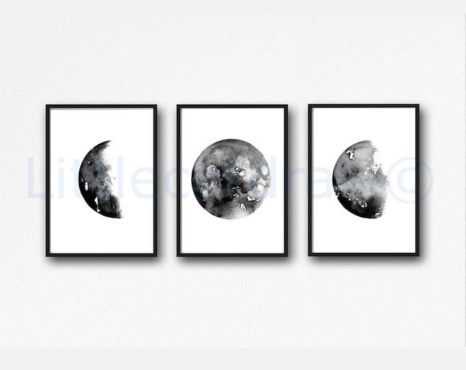Moon Print Set of 3 Prints Moon Phases Print Celestial Gift Watercolor Painting Print Wall Decor Home Wall Art Luna Art Lunar Moons Unframed