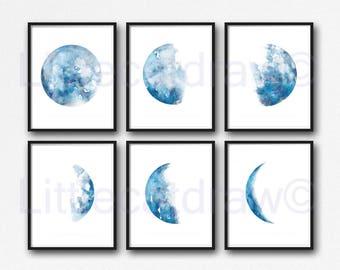 Moon Phases Print Set Of 6 Watercolor Painting Print Lunar Moons Living Room Decor Wall Art Luna Moon Phase Blue Home Wall Decor Art Prints