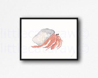 Hermit Crab Print Herman The Hermit Crab Watercolor Painting Print Wall Art Nautical Print Home Decor Art Print Wall Decor Unframed